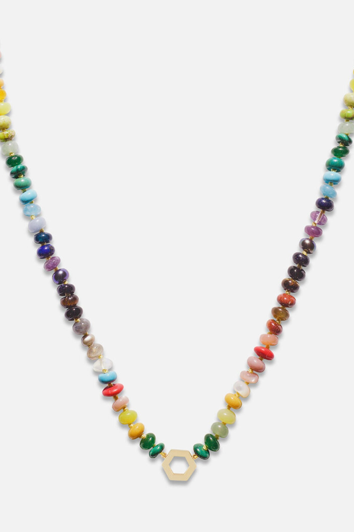 HARWELL GODFREY - Rainbow bead foundation necklace, 18""