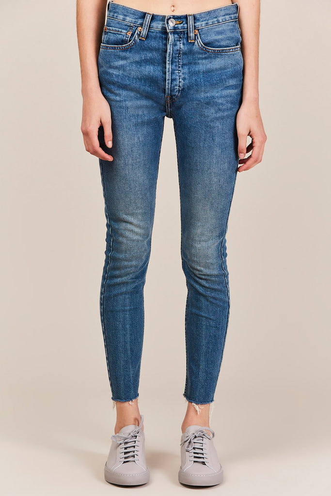 High Rise Ankle Crop, Medium Vain Wash