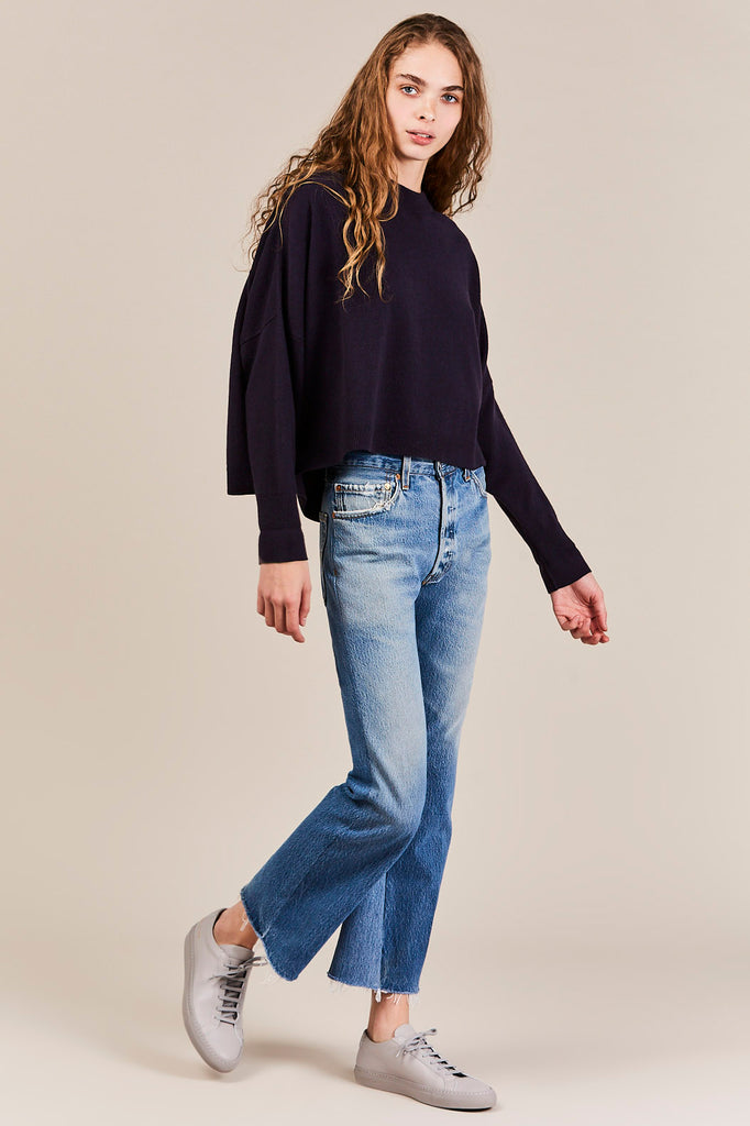High-Rise Crop Flare Jeans, Indigo
