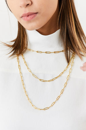 Rectangular Link Necklace, Gold