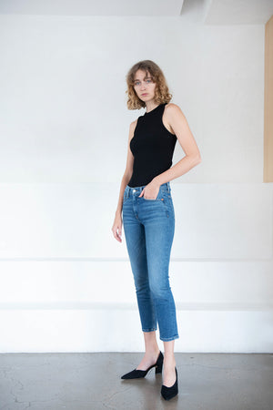 RE/DONE - mid rise ankle crop, dark blue