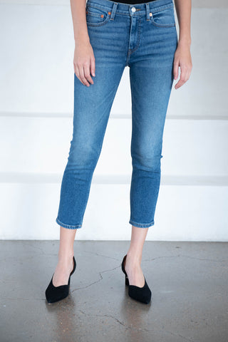 mid rise ankle crop, dark blue