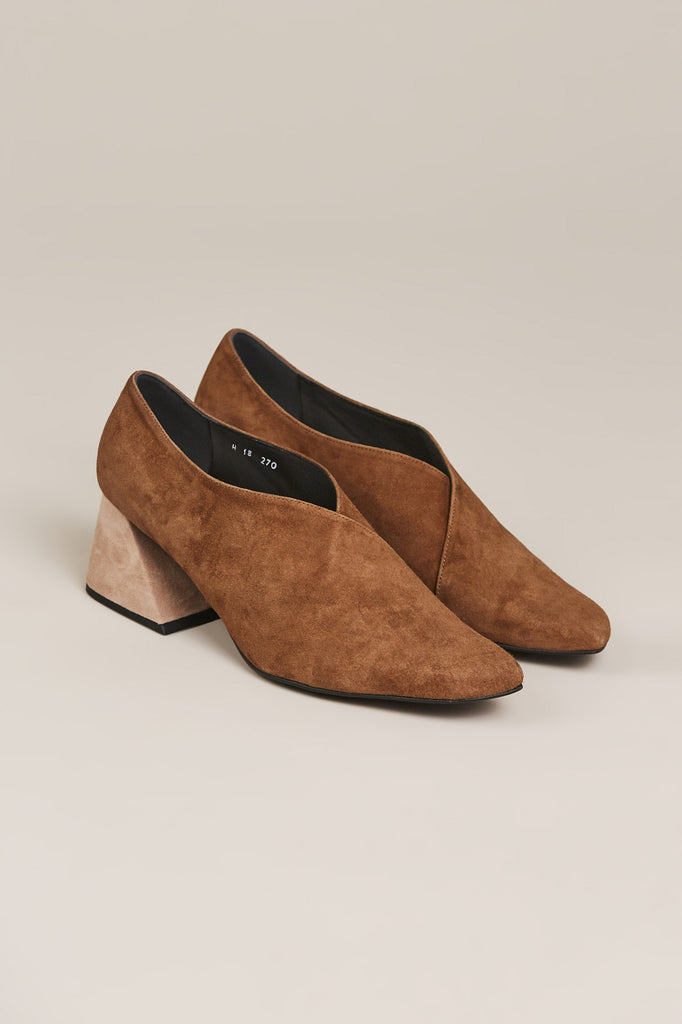 Mocha Suede Upper with Oat Heel