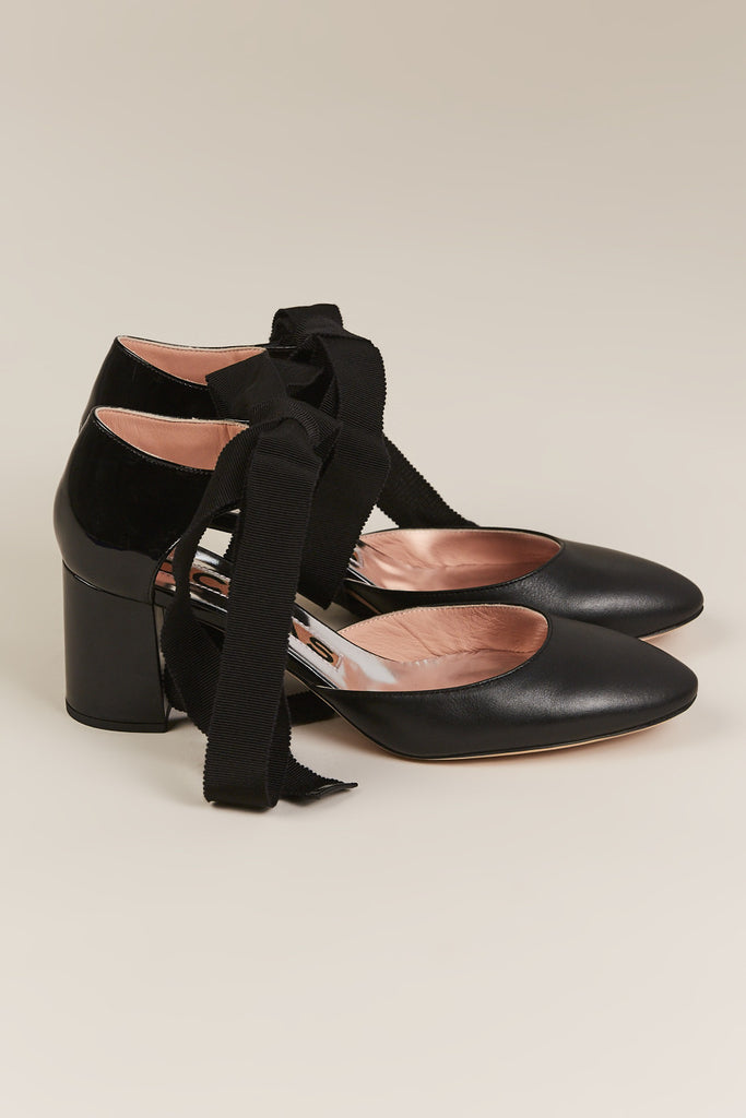 Tie Pumps, Black - Rochas