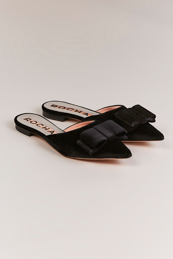 Velvet Bow Slides, Black