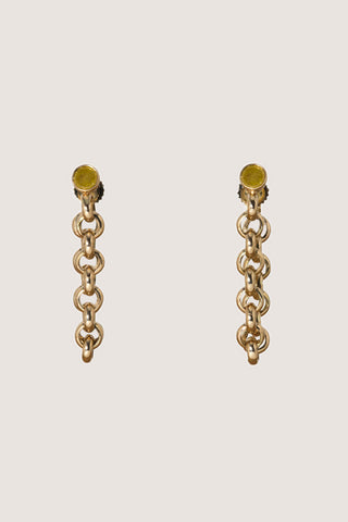 Rolled Chain Earrings, Gold