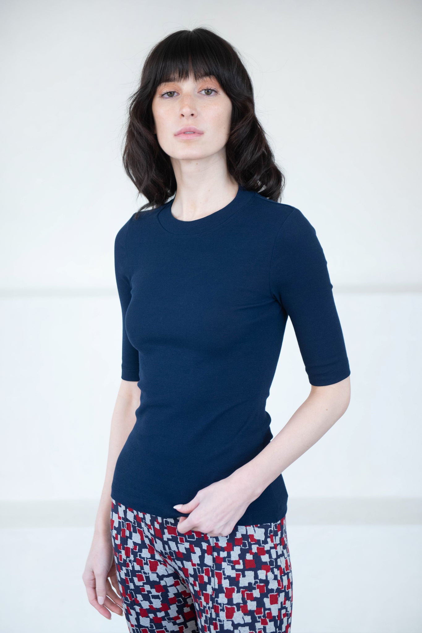 ROSETTA GETTY - cropped sleeve t-shirt, navy