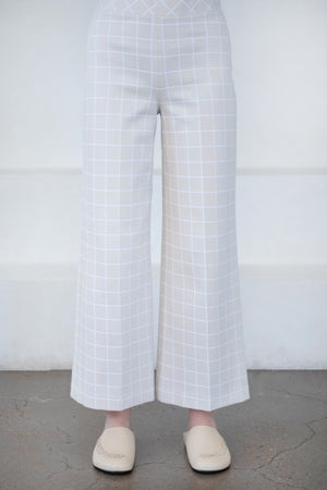 ROSETTA GETTY - pull on cropped pant, beige and white