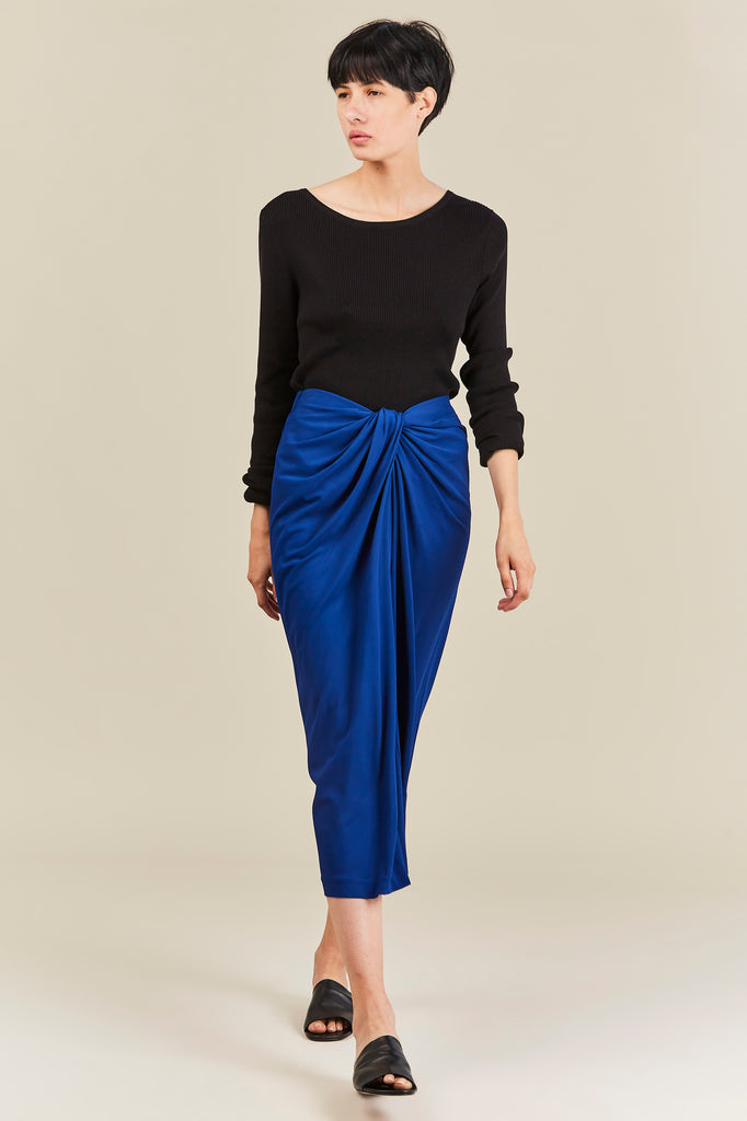 Twist Front Skirt, Lapis