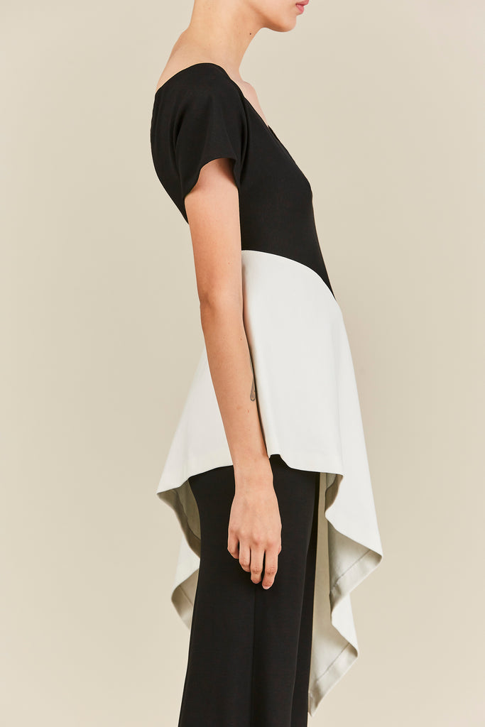 Rosetta Getty - Wide Neck Asymmetrical Top, Black and White