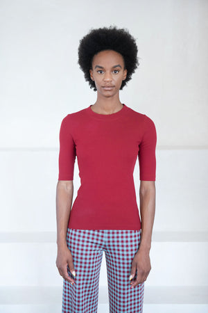 ROSETTA GETTY - cropped sleeve t-shirt, burgandy