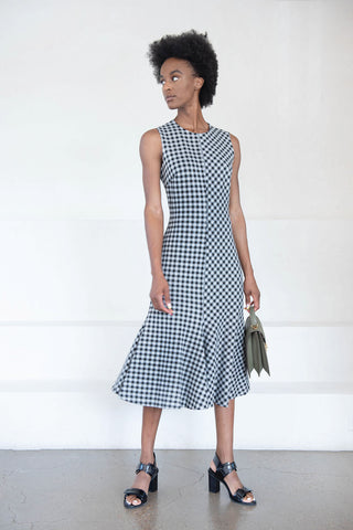 fluted gingham dress, black and white