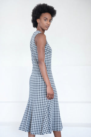 ROSETTA GETTY - fluted gingham dress, black and white