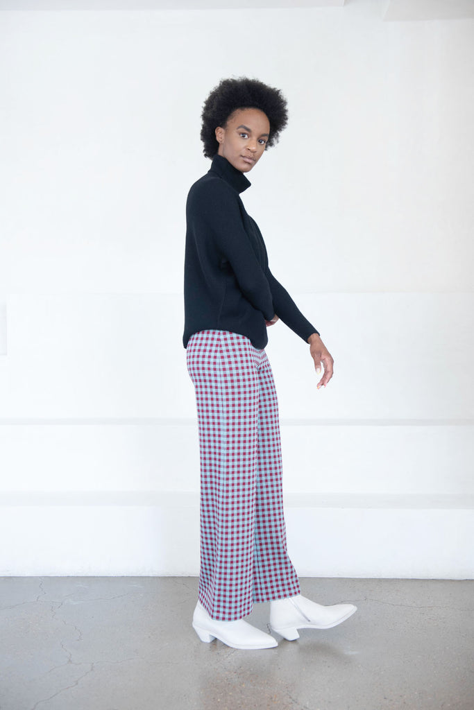 ROSETTA GETTY - pull on crop gingham pant, blue and red
