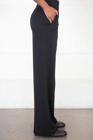 ROSETTA GETTY - pull-on straight pintuck pant, black