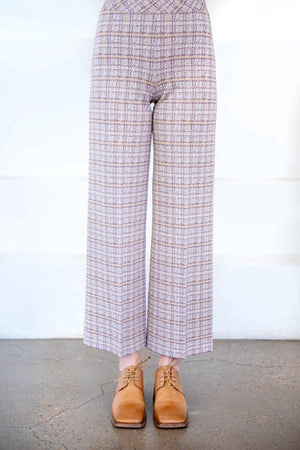 ROSETTA GETTY - cropped straight plaid pant, camel and grey