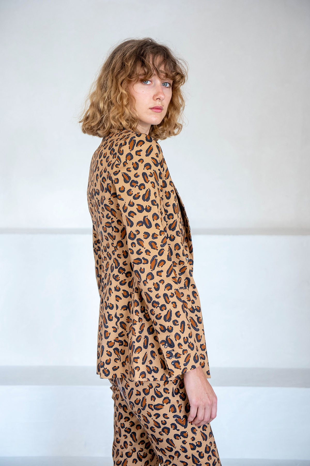ROSETTA GETTY - fitted peak lapel jacket, leopard