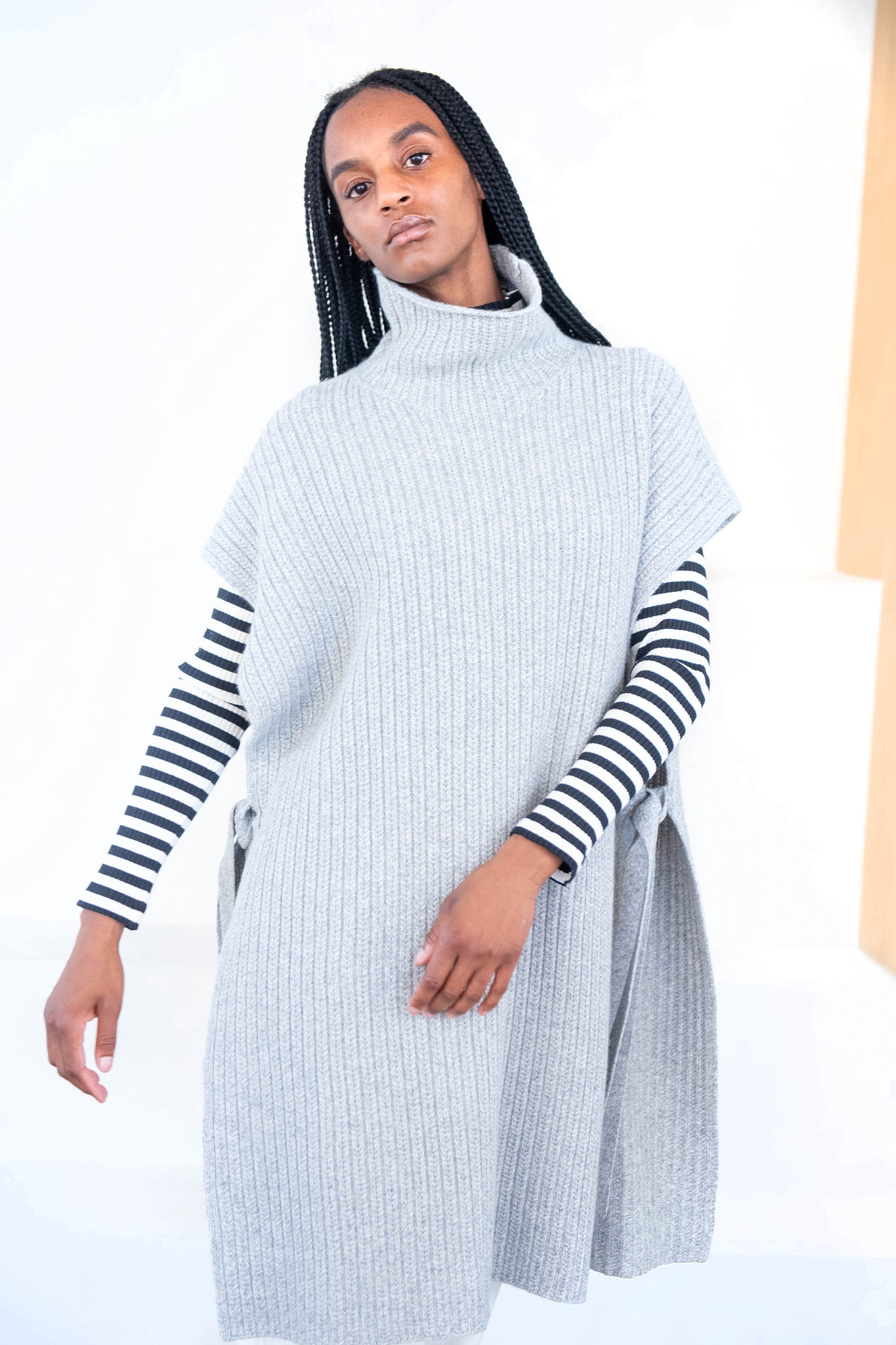 ROSETTA GETTY - turtleneck poncho, charcoal