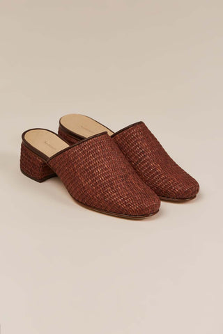Basket weave mules, Dark brown
