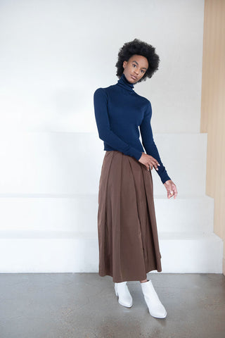 cropped turtleneck, navy