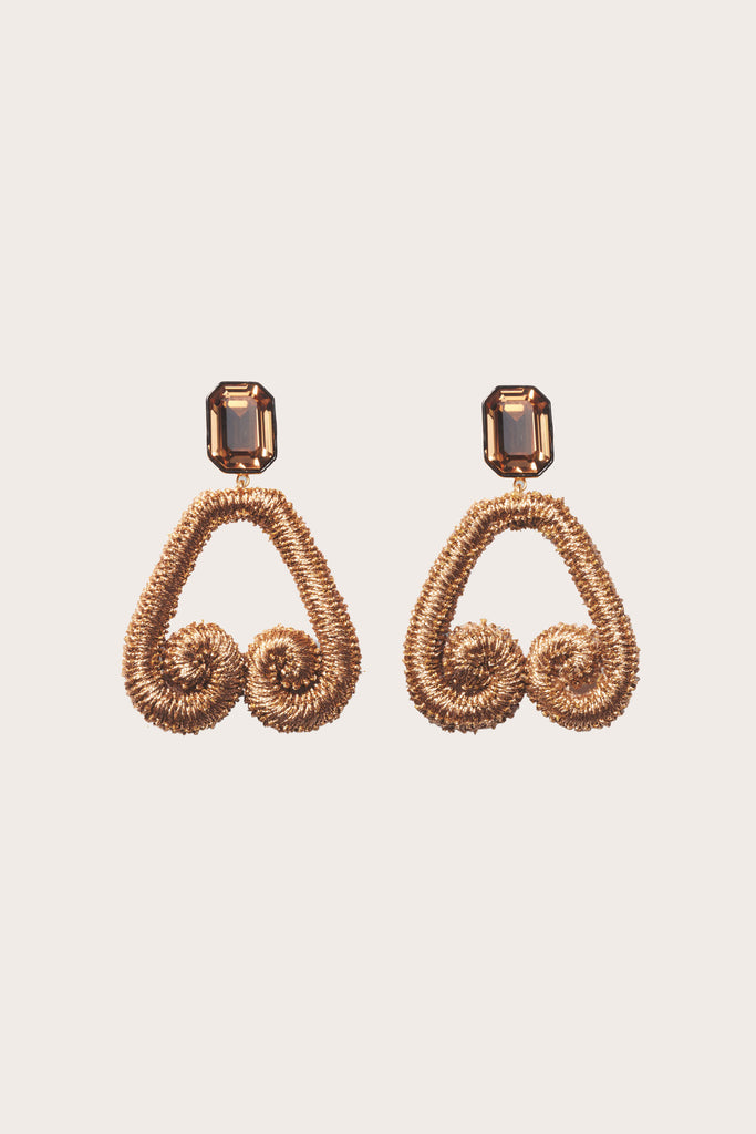 Scroll Earrings, Bronze