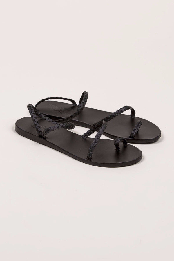 Eleftheria Braided Flat Sandal, Black