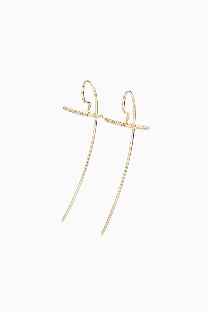 Gossamer Short Diamond Hook Earrings, Gold