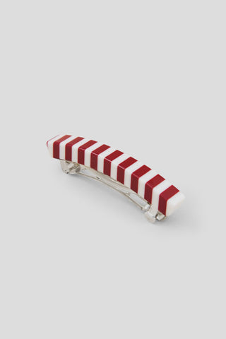 Short Lidia Barrette, Red-White Stripe