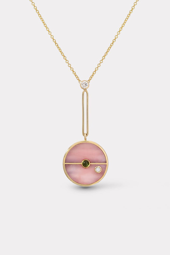 Signature Compass Pendant, Pink Opal