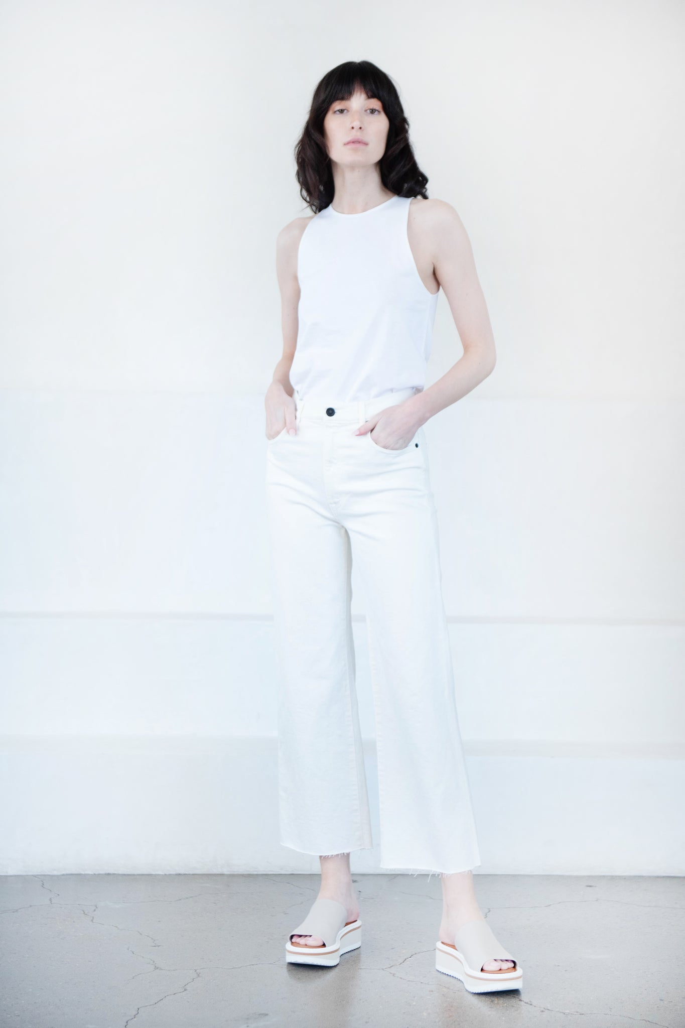 SLVRLAKE - grace crop pant, white
