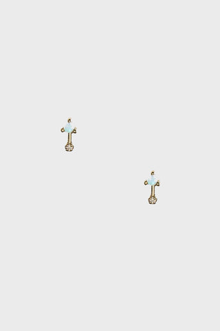 simple bar earrings pair, opal and diamond