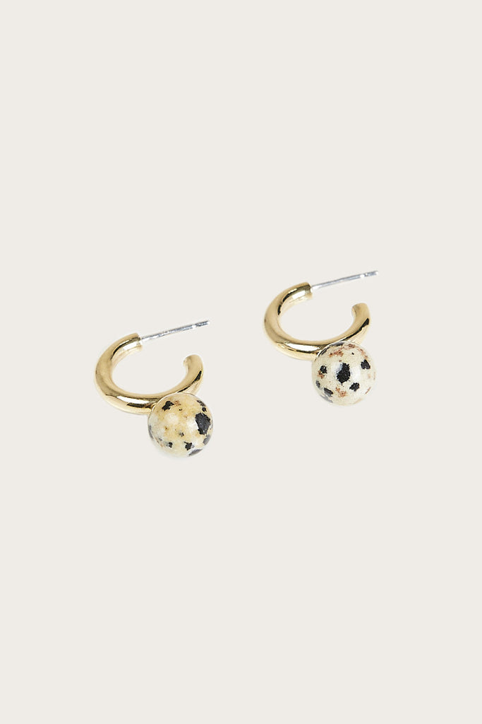 Small Asha Hoop Earrings, Brass & Dalmation Jasper - Quarry