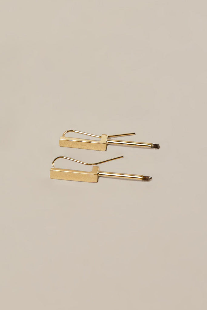 Short gold earrings