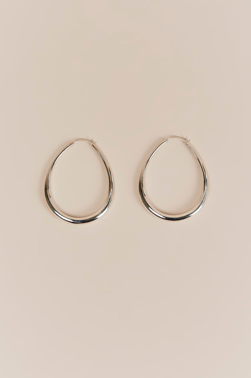 Sophie Buhai Medium Egg Silver Hoop Earrings Zi2COIW8VR