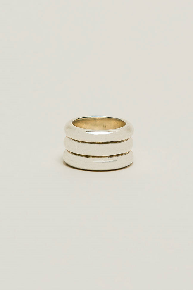 Three Dome Ring, Silver