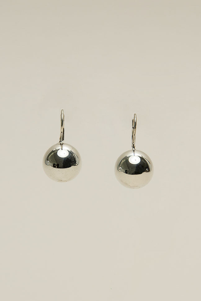 Sphere drop earrings, Silver