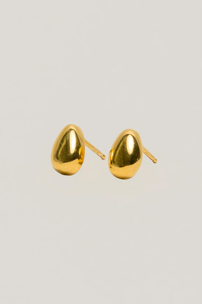 Tiny egg studs, 14k Gold Vermeil