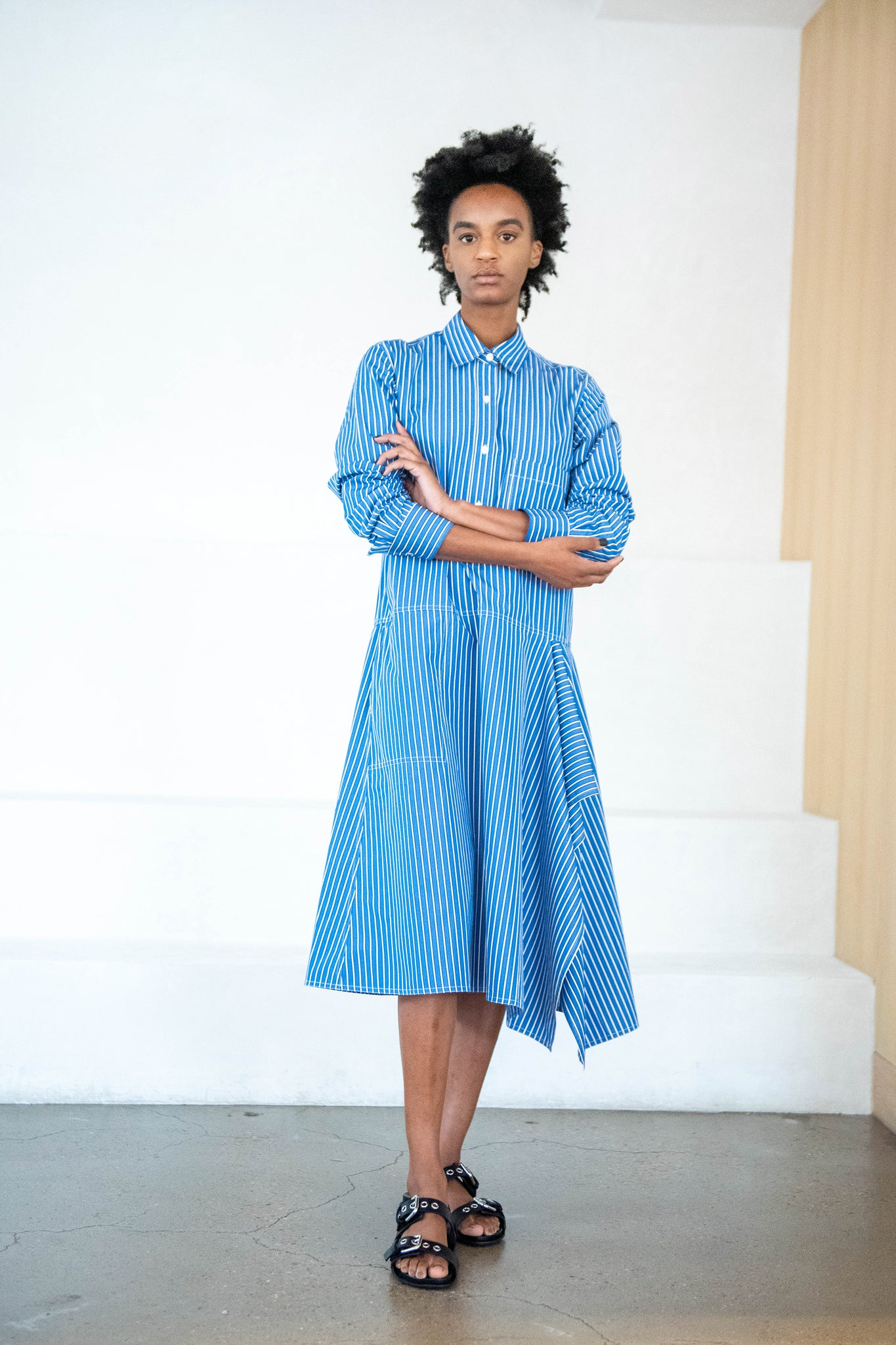 Sofie D'Hoore - DALLY striped cotton shirt dress, blue