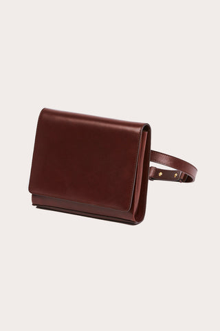 Belted Leather Crossbody, Chestnut