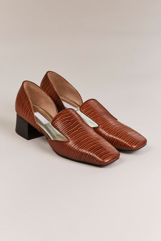 D'Orsay in Brown Faux Lizard