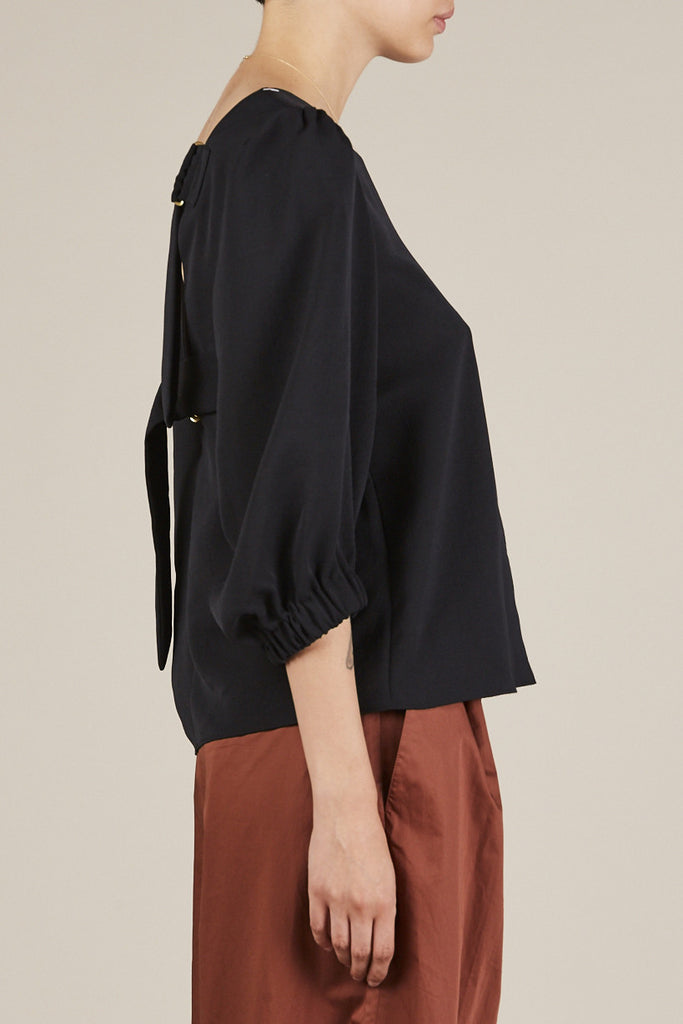 Tibi - Drape Twill Easy Top with Strap Detail, Midnight Navy - Tops