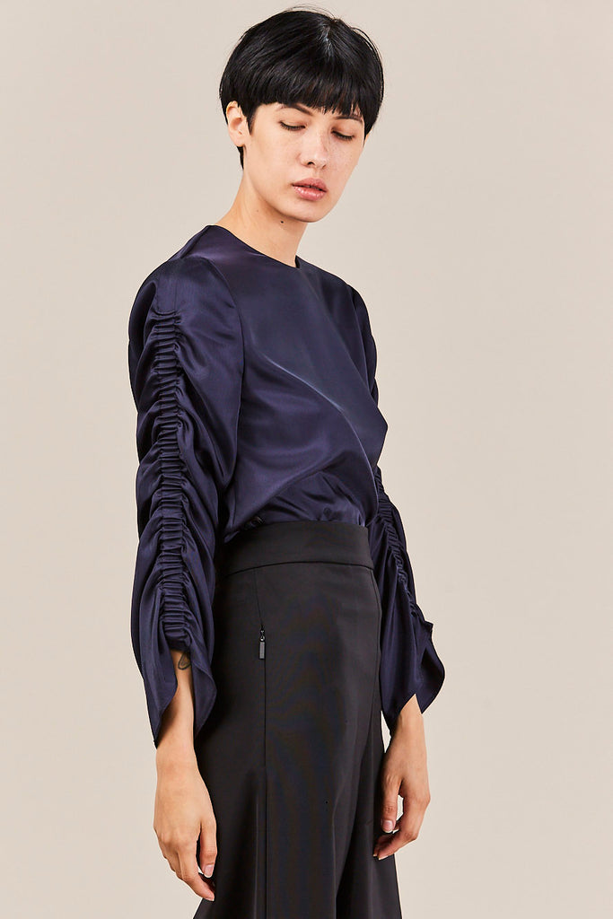Mendini Twill Shirred Top, Navy