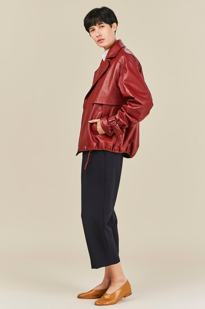 Oversized Leather Moto Jacket, Burnt Red