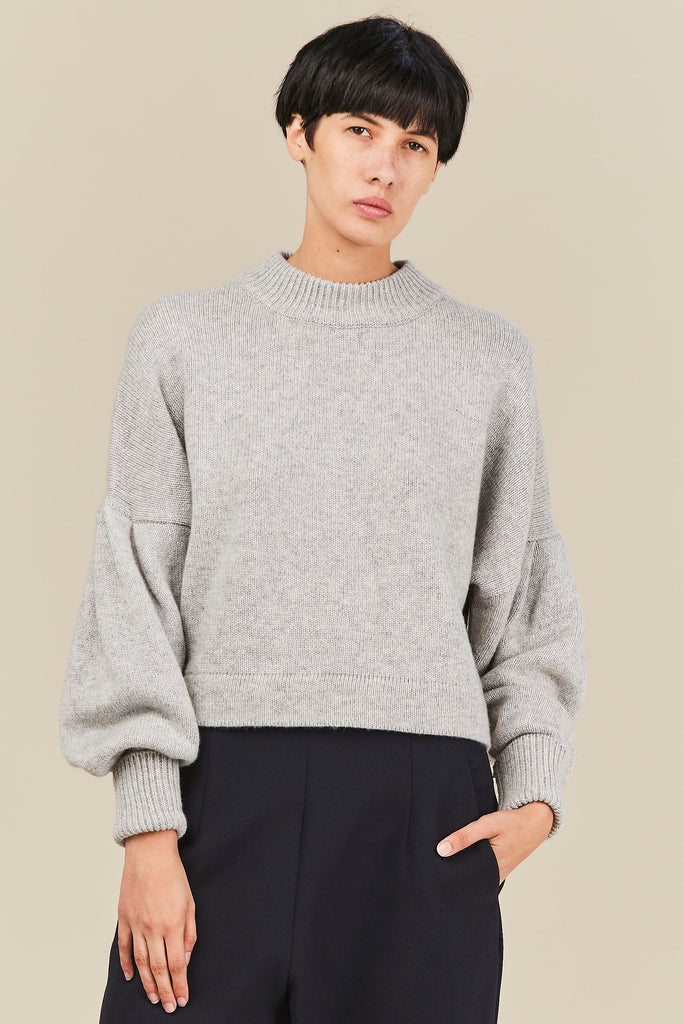 Cashmere Pleated Sleeve Pullover, Heather Grey