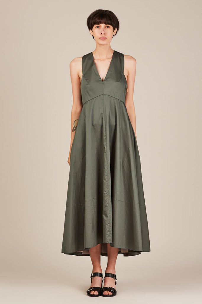 Satin Strappy Dress, Denali Green by Tibi