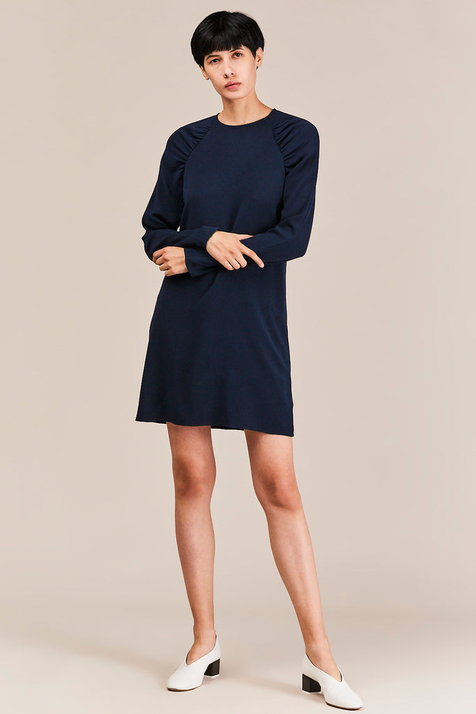 Savanna Crepe Ruched Sleeve Dress, Navy