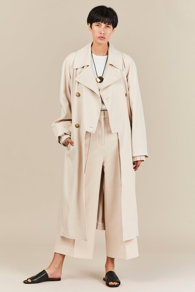 Double Breasted Trench Coat, Oatmeal