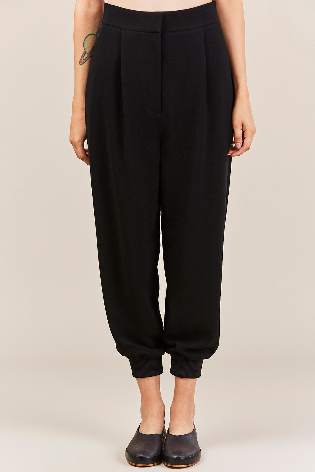 Tibi - Triacetate High Waisted Pants with Ribbed Hem, Black