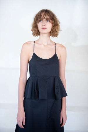 TIBI - sculpted peplum cami top, black