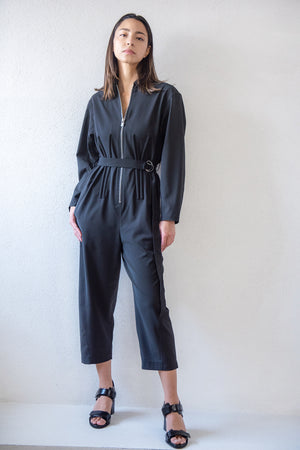 TIBI - tropical wool corset jumpsuit with belt, black